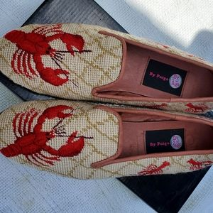 Handmade needlepoint lobster shoes 10 NWD